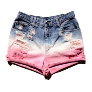 Distressed Ombre High Waisted Cut Off Shorts