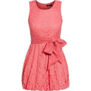 J&K Coral Lace Belted Dress