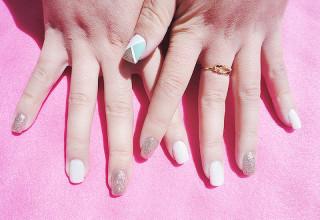 Unhas de gel Jelly Pink + LCN I love Mint + SB Nails G02 glitter