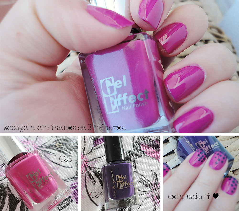 SB Nails Gio de Giovanni Gel Effect Color G04 (roxo) e G05 (rosa)
