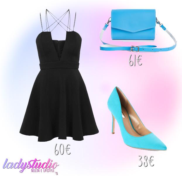 mala Zatchels vestido preto bcbgeneration sapatos azuis