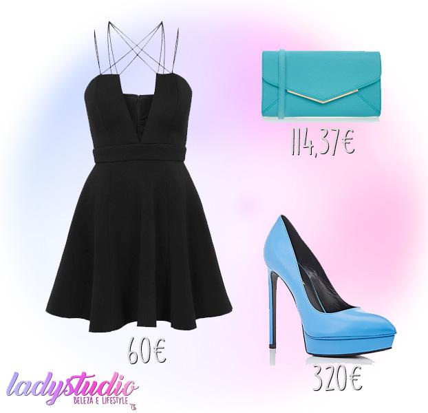 mala azul furla vestido preto sapato azul sait laurent